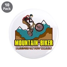 "Mountain Biker Freedom 3.5"" Button (10 pack)"