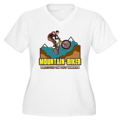 Mountain Biker Freedom Women's Plus Size V-Neck T-