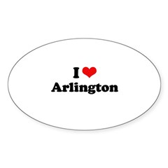 I love Arlington Oval Sticker (10 pk)
