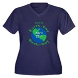 Earth Day Birthday Women's Plus Size V-Neck Dark T