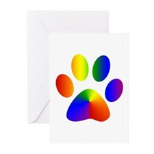 Rainbow Gay Pride Dog Paw Greeting Cards (Package