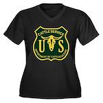 US Cattle Service Women's Plus Size V-Neck Dark T-