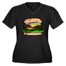 Burger Women's Plus Size V-Neck Dark T-Shirt
