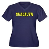 Gracelyn Faded (Gold) Women's Plus Size V-Neck Dar