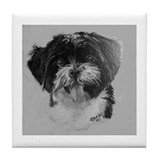 Maltese mix Tile Coaster