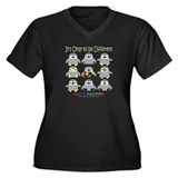Autism Awareness Penguins Women's Plus Size V-Neck