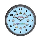 Autism Awareness Penguins (blue) Wall Clock
