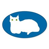 White Cat Silhouette Oval Stickers