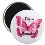 Due November Sparkle Butterfly Magnet