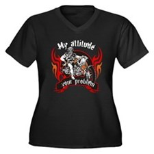 My attitude Women's Plus Size V-Neck Dark T-Shirt