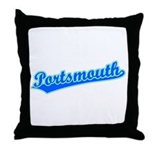 Retro Portsmouth (Blue) Throw Pillow