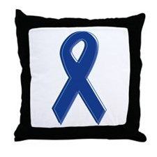 Dk Blue Awareness Ribbon Throw Pillow