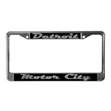 Detroit Motor City retro chrome License Plate Fram