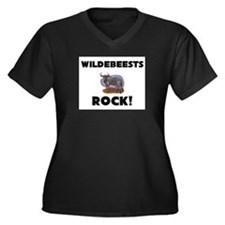Wildebeests Rock! Women's Plus Size V-Neck Dark T-
