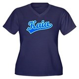 Retro Kaia (Blue) Women's Plus Size V-Neck Dark T-