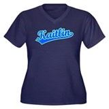 Retro Kaitlin (Blue) Women's Plus Size V-Neck Dark