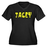 Jacey Faded (Gold) Women's Plus Size V-Neck Dark T
