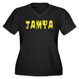 Jamya Faded (Gold) Women's Plus Size V-Neck Dark T