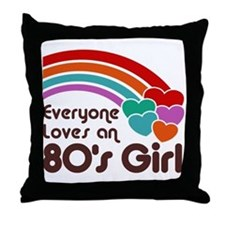 80's Girl Throw Pillow