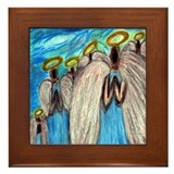Six Angels Praying Framed Tile (Oil Pastel Print)