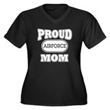 Proud Airforce Mom Women's Plus Size V-Neck Dark T