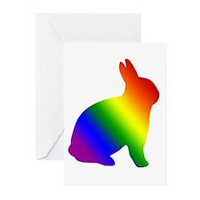 Rainbow Gay Pride Bunny Rabbit Greeting Cards (Pac