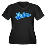 Retro Kyler (Blue) Women's Plus Size V-Neck Dark T