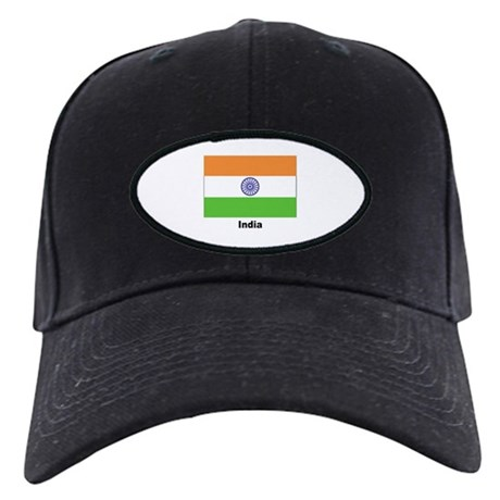 India Indian Flag Black Cap