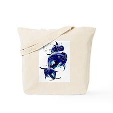 Three Blue Dolphins Tote Bag