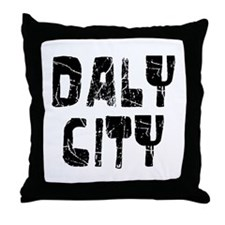 Daly City Faded (Black) Throw Pillow