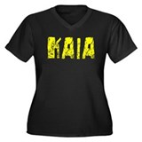 Kaia Faded (Gold) Women's Plus Size V-Neck Dark T-