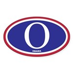 "O"" Obama Red White and Blue Sticker (Oval 50"