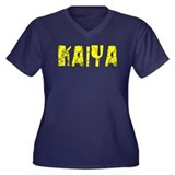 Kaiya Faded (Gold) Women's Plus Size V-Neck Dark T