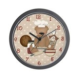Country Teddy Bear Chef Wall Clock