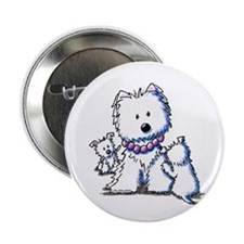 "Westie Mom In Pearls 2.25"" Button (10 pack)"