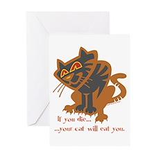 Cat Eats Greeting Card
