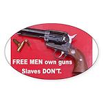 Free Men Own Guns Oval Sticker (10 pk)