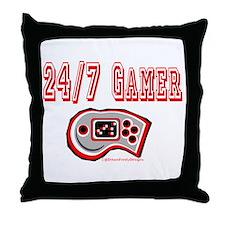 24/7 Gamer Throw Pillow