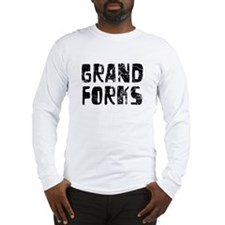 Grand Forks Faded (Black) Long Sleeve T-Shirt