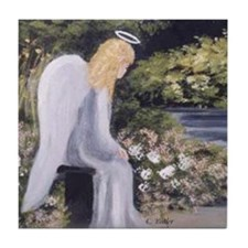Angel in Garden Tile Coaster