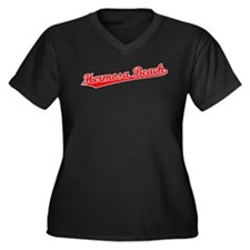 Retro Hermosa Beach (Red) Women's Plus Size V-Neck