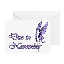 Due November Purple W Fairy Greeting Card