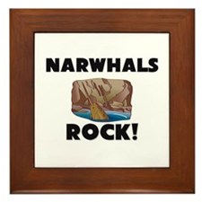 Narwhals Rock! Framed Tile