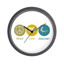 Peace Love Zoology Wall Clock
