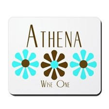 Athena - Blue/Brown Flowers Mousepad