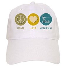 Peace Love Water Ski Baseball Cap