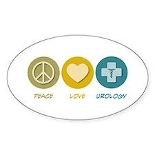 Peace Love Urology Oval Decal