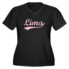 Vintage Lima (Pink) Women's Plus Size V-Neck Dark