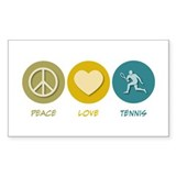 Peace Love Tennis Rectangle Sticker 10 pk)