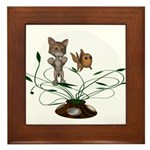 Cat Fish Bowl Framed Tile